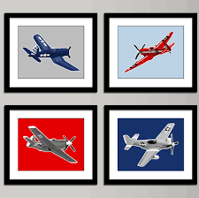 Airplane Nursery Art Set Of 4 Custom Color Vintage Air Etsy Nursery Art Boy Nursery Art Vintage Airplane Nursery
