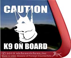 Caution K9 On Board German Shepherd Decals Stickers Nickerstickers