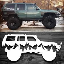 We Created This Decal Using The Silhouette Of A Customer S Xj Turned Out Even Better Than We Had Hoped Available Here Ht Jeep Zj Jeep Stickers Jeep Xj Mods