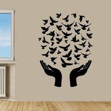 Shop Doves Flying From Hands Wall Decor Interior Home Decor Vinyl Stickers Wall Art Nursery Room Sticker Decal Size 44x60 Color Black Overstock 14500255
