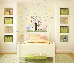 Amazon Com Nursery Tree Wall Decals Baby Girl Room Nursery Art Decor Baby Owl Room Wall Stickers Love Birds Pink Green Aqua Butterfly Handmade