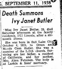 Ivy Butler Death Summons The Ogden Standard-Examiner Utah 11 Sep 1938 Sun  Pg 16 - Newspapers.com
