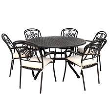 6 seat metal garden round set bronze
