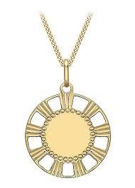 gold 9ct gold round disc pendant