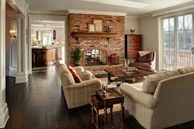 family room with red brick fireplace