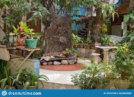Terrace Design In Asian Village Philippines Wooden Decoration With Plants And Flower Pots In Tropical Patio Beautiful Backyard Stock Image Image Of Home Patio 144101365