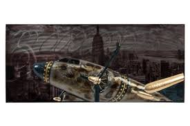 wall decoration metal 42x18x3 5 airplane