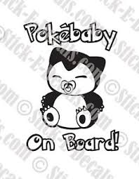 Pokemon Snorlax Pokebaby On Board Vinyl Decal Sticker Free Usa Shipping Ebay