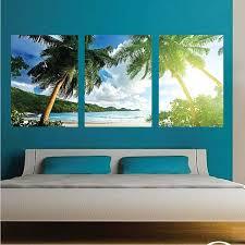 Palm Tree View Mural Wallpaper Window Beach Ocean Wall Decal Living Room C64 Beach Wall Murals Wall Mural Decals Tree Wall Murals