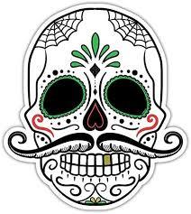 Amazon Com Day Of The Dead Sugar Skull Rockabilly Mustache Bumper Sticker Window Car Decals 4 X5