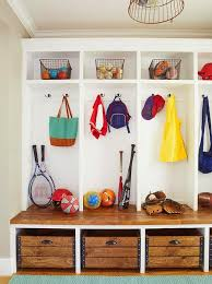 Industrial Bins Under Mudroom Bench Cottage Laundry Room