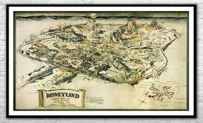 Concept Disneyland Map 1953 Large Walt Disney Nursery Disneyland Wall Art Ebay