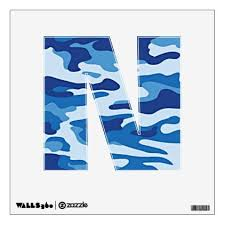 Camouflage Pattern Blue Letter N Wall Decal Decor Gifts Diy Home Living Cyo Giftidea Wall Decals Custom Wall Decals Decal Wall Art