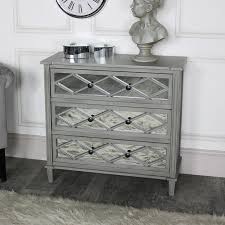 ornate grey mirrored 3 drawer chest of