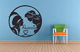 Amazon Com Jasmine And Aladdin Walt Disney Wall Sticker Vinyl Wall Art Decal For Girls Boys Baby Kid Bedroom Nursery Daycare Kindergarten Cartoon Home Decor Stickers Wall Art Vinyl Decoration Size 20x20 Inch