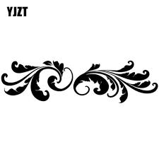 Yjzt 25 6 8cm Fashion Magic Floral Feather Beautiful Car Window Decal Sticker Black Silver Vinyl S8 1536 Silver Vinyl Decal Stickerstickers Black Aliexpress