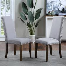 Harper Bright Designs Light Grey Upholstered Dining Chairs Set Of 2 Wf189457eaa The Home Depot