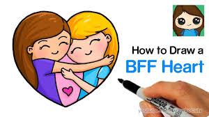draw best friends forever heart easy