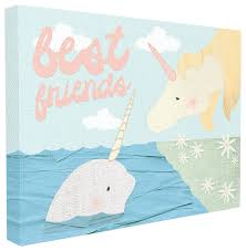 Best Friends Narwhal Unicorn Collage Framed Giclee Texturized Art Beach Style Kids Wall Decor By Stupell Industries
