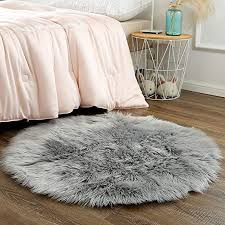 Amazon Com Ojia Deluxe Soft Fuzzy Fur Rugs Faux Sheepskin Shaggy Area Rugs Fluffy Modern Kids Carpet For Living Room Bedroom Sofa Bedside Decor 3ft Grey Home Kitchen