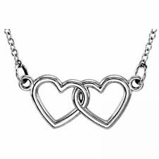 14k white gold double heart necklace