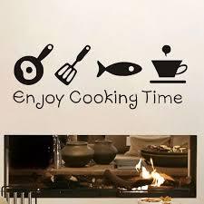 Kitchen Decorative Wall Papers Stickers Enjoy Cooking Time Vinyl Decal Islamic Proverbs Home Decoration Decals Wallpaper Poster Wall Stickers Aliexpress