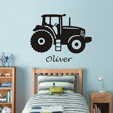 Personalized Name Art Vinyl Wall Sticker For Kids Room Tractor Custom Name Removeable Decal Bedroom Nursery Decor Poster J39 Wall Stickers Aliexpress