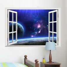 9 Styles Charming Outer Space 3d Window View Removable Wall Sticker Beautiful Star Sky Scenery Home Kids Room Decal Mural Art Mural Painter Mural Paintingart Studio Aliexpress