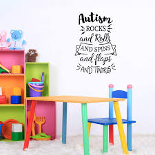 Amazon Com Vinyl Wall Art Decal Autism Rocks And Rolls 25 X 17 Inspirational Autism Support Life Quote For Home Bedroom Playroom Nursery School Classroom Workplace Indoor Decoration Home Kitchen