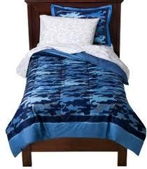 blue camouflage boys twin comforter set