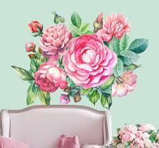 Peony Flowers Floral Nursery Girls Decor Peony Vinyl Decal Etsy