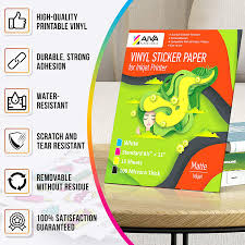 Amazon Com Printable Vinyl Sticker Paper For Inkjet Printer Matte White 15 Self Adhesive Sheets Waterproof Decal Paper Standard Letter Size 8 5 X11 Office Products