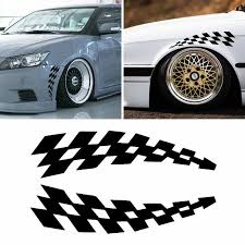 Racing Stickers Vehicle Car Decals Wheel Eyebrow Checkered Flags Safety Reflector Vinyl Stickers Prevention For Audi Bmw Jeep Car Stickers Aliexpress