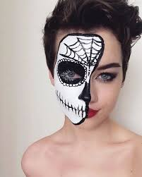 cute sugar skull makeup half face