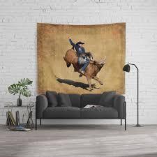 Bull Dust Rodeo Bull Riding Cowboy Wall Tapestry By Skyeryanevans Society6