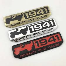 Willys Badge 1941 Seventy Five Years 3d Metal Car Emblem Decal Sticker For Jeep Grand Cherokee Patriot Liberty Gladiator J12 Car Stickers Aliexpress