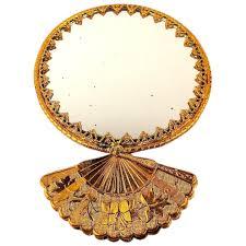 hand fan pocket mirror 2 sided art deco
