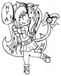 Monochrome Kat Meisje Anime Manga Kawaii Cartoon Vector Geisoleerd