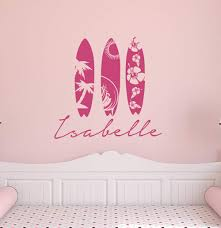 Surfboard Decal Personalized Vinyl Name Wall Decal With Surfing Ocean Beach Theme For Baby Girl Room Home Decor Aa316 Amazon Com