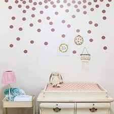 Amazon Com Wall Decal Dots Posh Dots Easy To Peel And Stick Removable Metallic Vinyl Polka Dot Decor Round Circle Wall Decal Stickers For Festive Baby Nursery Room 300 Packs Rose Gold Baby