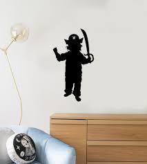 Vinyl Wall Decal Silhouette Boy Pirate Kids Room Play Art Interior Sti Wallstickers4you