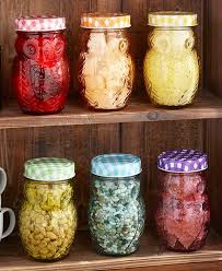 12 pc owl storage jars with images