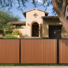Terrafence Mesa 6 Ft X 8 Ft Timber Brown Black Composite Steel Fence Panel With Posts Rails And Hardware Kit Mesafence6x8tb Blk The Home Depot Steel Fence Panels Fence Panels Backyard Fences