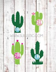 Cactus Monogram Decal Personalized Cactus Decal Yeti Cooler Decal Y Slrustic