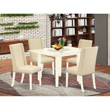 Shop Ndfl5 Lwh 01 5 Pc Small Dining Table Set 4 Parson Chairs And Drop Leaf Dining Room Table High Back Linen White Finish Overstock 32085513