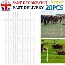 Woodside 20 X White 4ft Tall Electric Fencing Fence Posts Stakes Poles 4 Foot Horse Paddock Posts