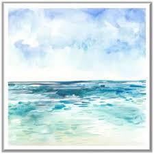 coastal watercolour 2 framed print in