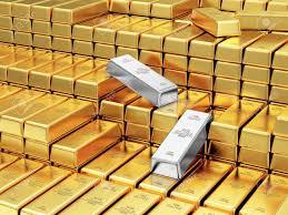 Negocios, Finanzas, Banco De Reservas De Oro Concept. Pila De Oro ...