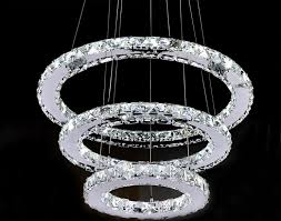 led crystal triple tier ring chandelier
