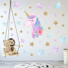 Rainbow Unicorn Wall Sticker Girl Bedroom Mural Art Decal Nursery Home Diy Decor